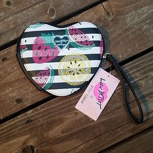 Betsey Johnson Heart and Fruit Wristlet Coin Purse